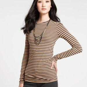 Ann Taylor striped round-neck long-sleeve t-shirt